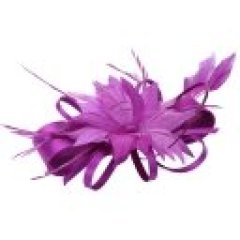 Women wedding party Purple fascinators hat with clip handmade feather flower headband