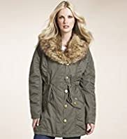 Pure Cotton Faux Fur Collar Drawstring Parka