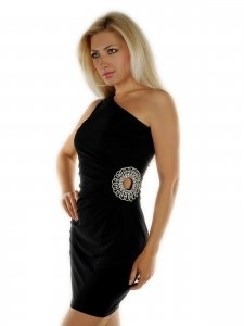 4503 - BLOOSE: One Shoulder PARTY Minikleid, Schwarz
