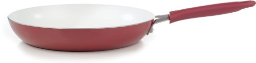 WearEver C94307 Pure Living Nonstick Ceramic Coating Scratch-Resistant FTFE PFOA and Cadmium Free Dishwasher Safe Oven Safe Saute Pan Fry Pan Cookware, 12-Inch, Red