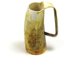 Unique Handcrafted Medium Ox Horn Tankard Soldiers Mead Mug Cup - 2 Finishes.