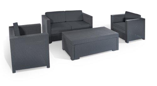Keter 17189415 Lounge Set Riviera Set, Rattanoptik, Kunststoff, anthrazit
