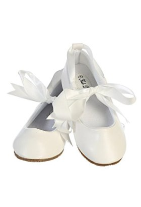 Ballerina-Ribbon-Tie-Rubber-Shoes-Cinderella-Flats-Toddler-Party-White-Size-3