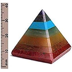 CHAKRA PYRAMID STONE w/ 7 Chakra Stones ~ Red Jasper, Aventurine, Golden Quartz, Amethyst ~ 30-40mm Size