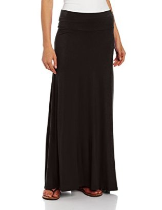 AGB-Womens-Timeless-Fashion-Long-Soft-Knit-Skirt-with-Waist-Detail-Black-Large