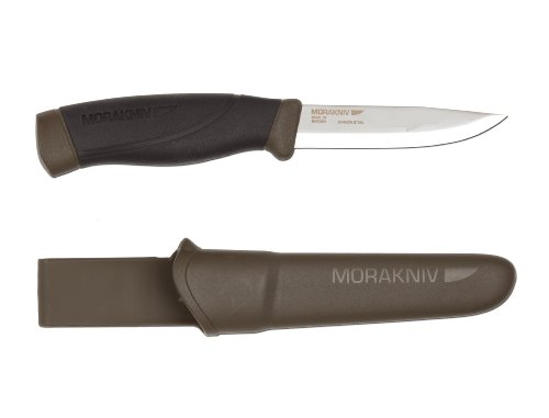 Morakniv Companion Heavy Duty Knife with Carbon Steel Blade, Military Green, 0.125/4.1-Inch