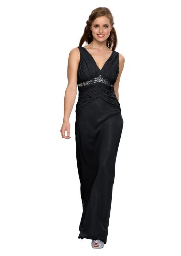 Langes Abendkleid, mit Strass, Perlen, Farbe schwarz, Astrapahl, Gr.34