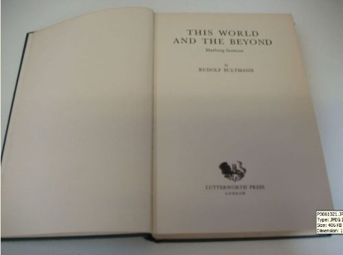 This World and the Beyond: Marburg Sermons