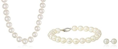 Sterling-Silver-7-75mm-White-Freshwater-Cultured-Pearl-Necklace-Bracelet-and-Earrings-Set