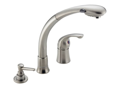 cheap delta kitchen sink faucets delta faucet 474 ss waterfall single handle pull out kitchen faucet with spray stainless