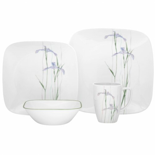 Corelle Square Round 16-Piece Dinnerware Set, Shadow Iris