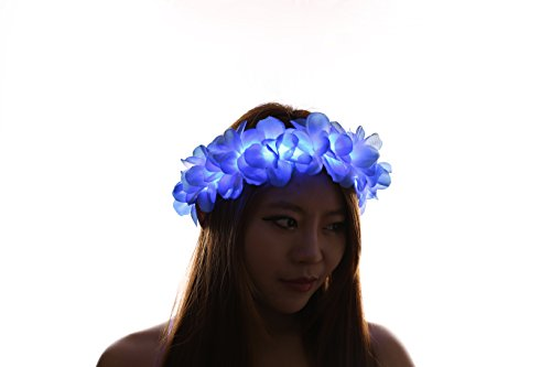 Blue LED Light Up Flower Crown/Floral Headband/Flower Hairpiece for EDC, Halloween, Costume, Party Accessories