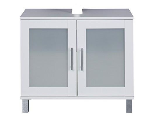 trendteam FLO30101 Waschbeckenunterschrank Weiß Melamin, Glas Satiniert, BxHxT 65x56x33 cm