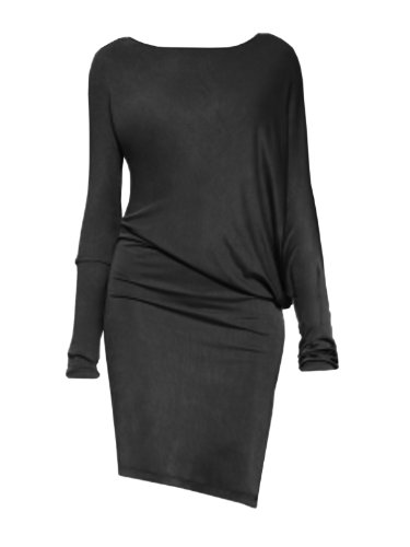 FourFlavor Modernes Abendkleid schwarz (L, schwarz)