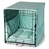 Plush Dog Crate Cover - Sea Foam Blue/Large