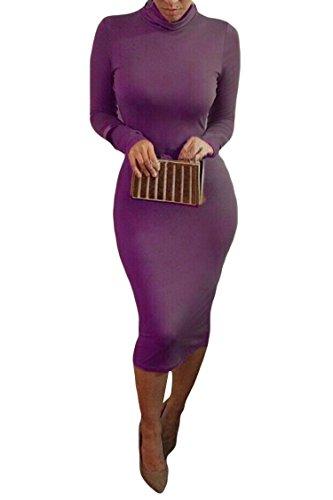 ALAIX Damen langärmeliges Taille schnürendes hochkragen schlanke geschnittenes Bodycon Midi Party Kleid