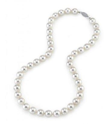 14K-Gold-90-95mm-Hanadama-Akoya-White-Cultured-Pearl-Necklace-16-Inch-Choker-Length