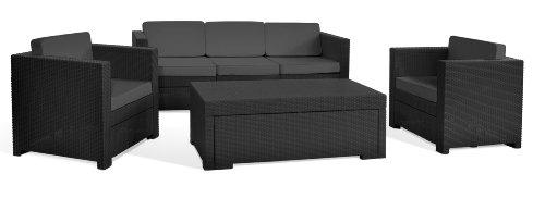 Keter 17189926 Lounge Set Mistral Set, Rattanoptik, Kunststoff, anthrazit