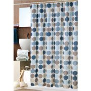 Bold Blue Circles Fabric Shower Curtain With Hooks Bath Supplies