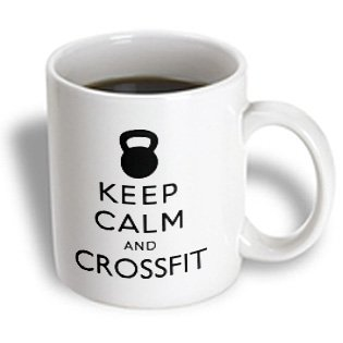 3dRose Keep Calm and Crossfit Kettlebell Workout Ceramic Mug