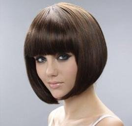 bob style straight bang short straight women wig wigs with wig cap hair