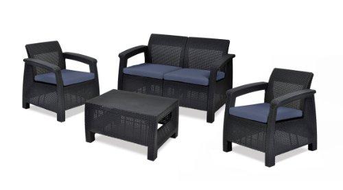 Keter 17193504 Lounge Set Corfu Set, Rattanoptik, Kunststoff, anthrazit