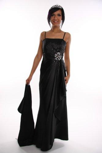 Modell 2108 Abendkleid lang, Träger, Strass, schwarz, Größe 38
