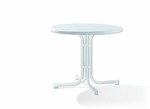 Sieger 209/W Boulevard-Klapptisch, ø 86 cm, Stahlrohrgestell weiß, Mecalit-Pro-Tischplatte Marmordekor weiß, Tischhöhe ca. 72 cm