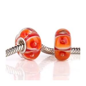 Orange Red Sunrise Glass Bead with 925 Sterling Single Core