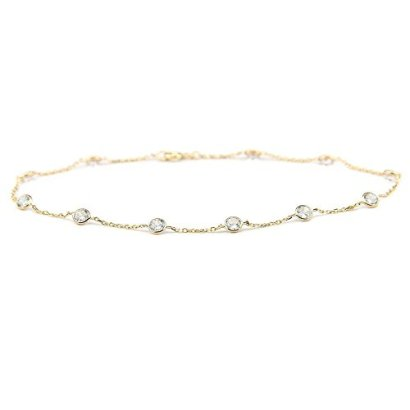 14k-Yellow-Gold-Station-Anklet-Bracelet-with-4mm-Round-Cubic-Zirconia-By-the-Yard-100