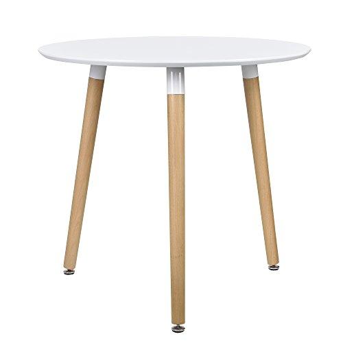encasa Esstisch Rund Wei H75cmx80cm Holz Tisch Retro Kchentisch  ComForAfrica