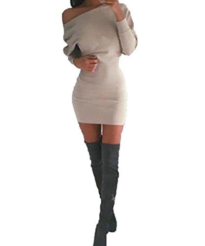 Schulterfreies langärmelig Mini Kleid