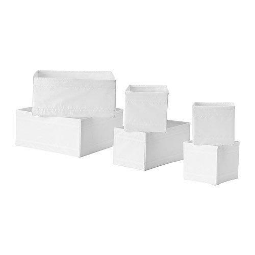 "IKEA 6-er Set Aufbewahrungsboxen ""Skubb"" sechs Kisten Regaleinsätze je 2 Stück in 3 versch. Größen – WEISS"