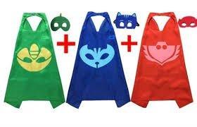 キッズPJ Masksコスチューム 27.5インチ キャットボーイ、アウレット、ゲッコーのマント付きマスク 3つのセット
