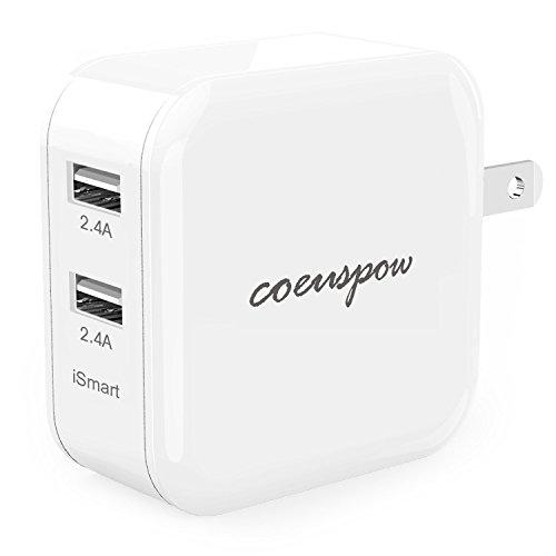 Coeuspow 4.8A 24W 2ポート USB充電器 折り畳み式プラグ 海外対応 iPhone スマホ タブレット 急速充電器