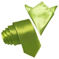 Lime Green Skinny Tie With Free Matching Pocket Square By ...