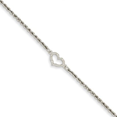 14k-White-Gold-Rope-with-Heart-Anklet-10-Inch-Lobster-Claw-JewelryWeb