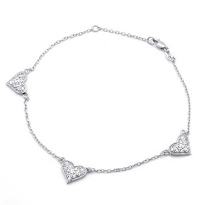 Bling-Jewelry-Pave-CZ-Three-Heart-925-Sterling-Silver-Chain-Anklet-9in