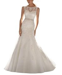 Femicuty Latest Sleeveless Lace Appliques Bridal Dress ...