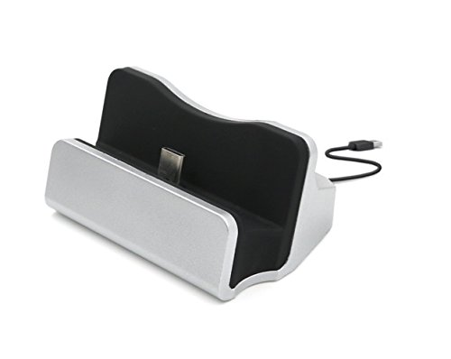 【TopAce】Type-C 卓上ホルダー 充電 スタンド クレードル充電器 Sony Xperia XZ / Sony Xperia X Compact 対応【全4色】(シルバー)