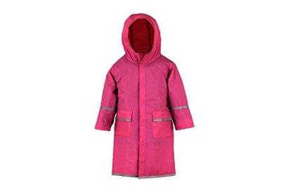 Fabugears-BoysGirls-KidsJuniors-Rain-Coat-Whit-Reflector-Full-Length-Long-Hooded-XL-14-16-Pink