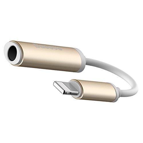 iPhone 7 ライトニングアダプタ オーディオ ジャック 3.5mm端子マイクイヤホンアダプタ Lightningコネクタ イヤホン変換ケーブル ゴールド