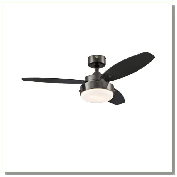 Westinghouse 7876400 Alloy Two-Light 42-Inch Reversible Three-Blade Indoor Ceiling Fan, Gun Metal with Opal Frosted Glass