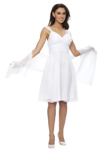 Chiffon Stola, Schal für Abendkleid, verschiedene Farben, Maße ca. 45 x 180 cm von Astrapahl (45 x 180 cm, Weiß)