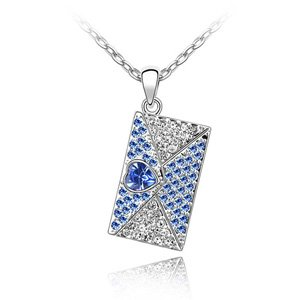 Bella Graciela Jewelry and Accessories, Romantic Royal Blue Rhinestone Studded Swarovski Crystal Heart Envelope Charm Necklace , fashion jewelry, fashion necklaces, blue, rhinestones, swarovski crystal