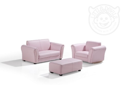 PINK LEATHER LAZYBONES KIDS TWIN SOFA ChairSeatArmchair