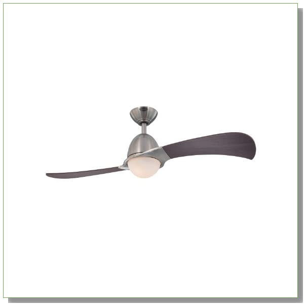 Westinghouse Lighting 7216100 Solana Two-Light 48-Inch Two-Blade Indoor Ceiling Fan, Brushed Nickel with Opal Frosted Glass