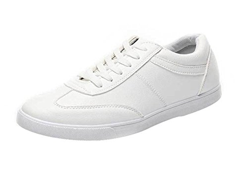 PerfectAZ Mens Fashion Casual PU Round Toe Rubber Sole Walking Comfortable Flat Board Sneakers(7.5 D(M) US, white)