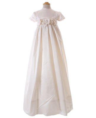 ea1f52a7abe80 II  Tosha Hays Ivory Flower Silk Christening Gown  AMAZING  3m 6m ...