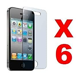 6X Reusable Anti-Glare Screen Protector for Apple iPhone 4